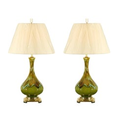 Exceptional Pair of Ceramic Lamps in Apple Green, Robins Egg and Caramel