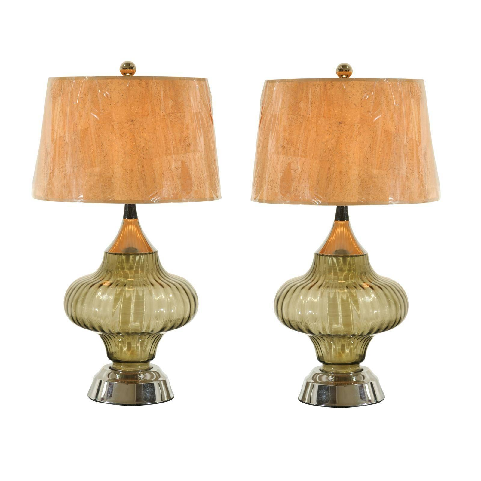 Restored Pair of Vintage Smoked Glass and Chrome Lamps