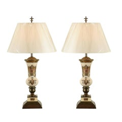 Remarkable Pair of Reverse Painted Lamps in the Style of Piero Fornasetti