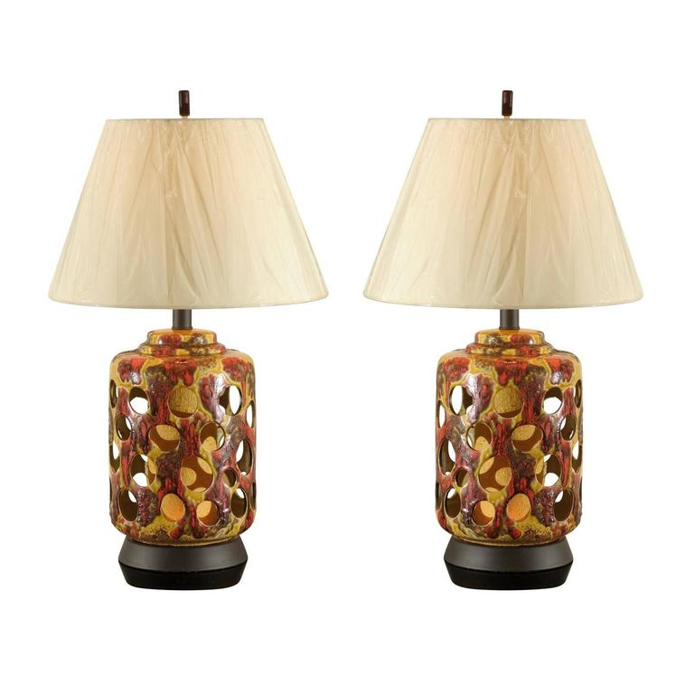 Pair of Pierced Ceramic Lamps in Yellow Ochre, Caramel and Paprika