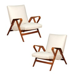 Gorgeous Pair of Restored Vintage Loungers in Maple and Mahogany