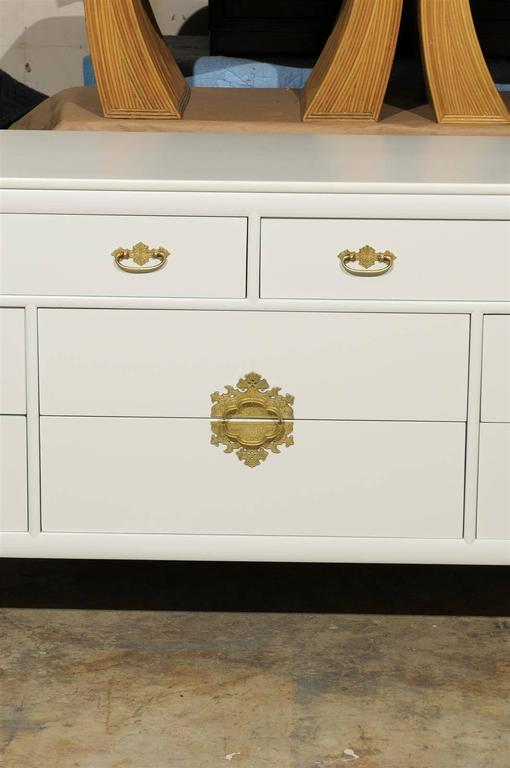 Brass Restored Vintage Chest by Century Furniture in Cream Lacquer For Sale