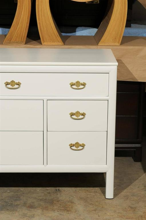 Restored Vintage Chest by Century Furniture in Cream Lacquer In Excellent Condition For Sale In Atlanta, GA