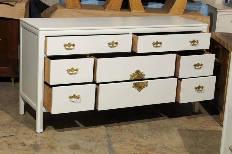 Restored Vintage Chest by Century Furniture in Cream Lacquer For Sale 1