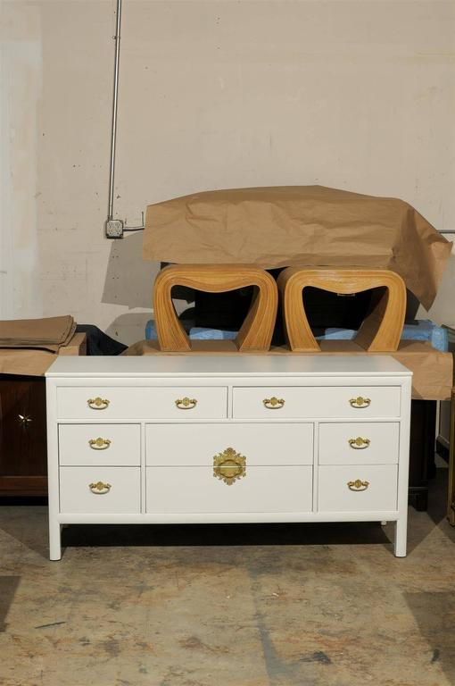 Mid-Century Modern Restored Vintage Chest by Century Furniture in Cream Lacquer For Sale