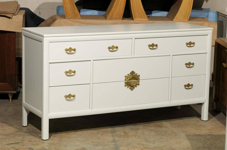 Restored Vintage Chest by Century Furniture in Cream Lacquer For Sale 2