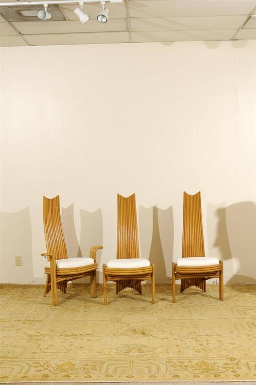 Mid-Century Modern Exquisite Set of Six Modern Rattan Dining Chairs in the Mackintosh Style For Sale