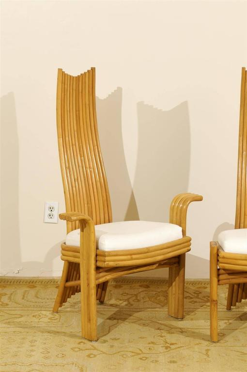 Unknown Exquisite Set of Six Modern Rattan Dining Chairs in the Mackintosh Style For Sale