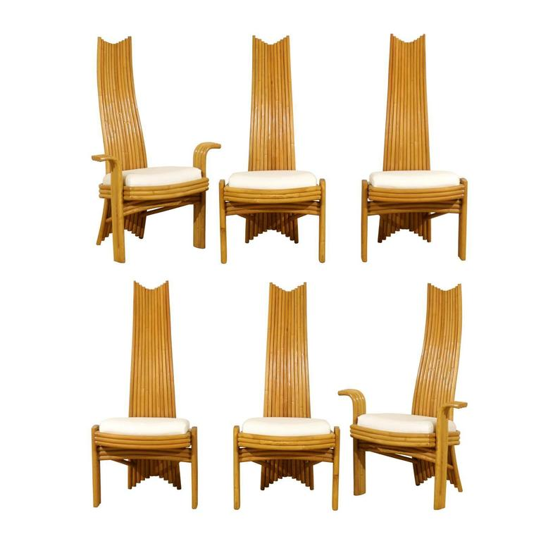 Exquisite Set of Six Modern Rattan Dining Chairs in the Mackintosh Style For Sale