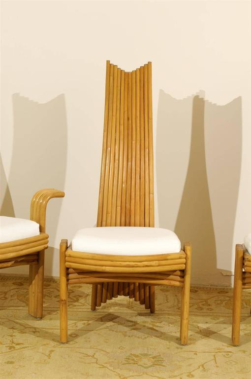 Exquisite Set of Six Modern Rattan Dining Chairs in the Mackintosh Style In Excellent Condition For Sale In Atlanta, GA