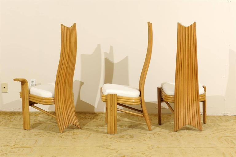 Exquisite Set of Six Modern Rattan Dining Chairs in the Mackintosh Style For Sale 1