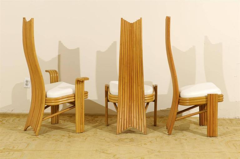 Late 20th Century Exquisite Set of Six Modern Rattan Dining Chairs in the Mackintosh Style For Sale