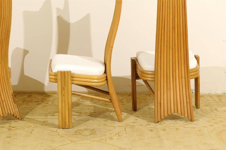 Exquisite Set of Six Modern Rattan Dining Chairs in the Mackintosh Style For Sale 2