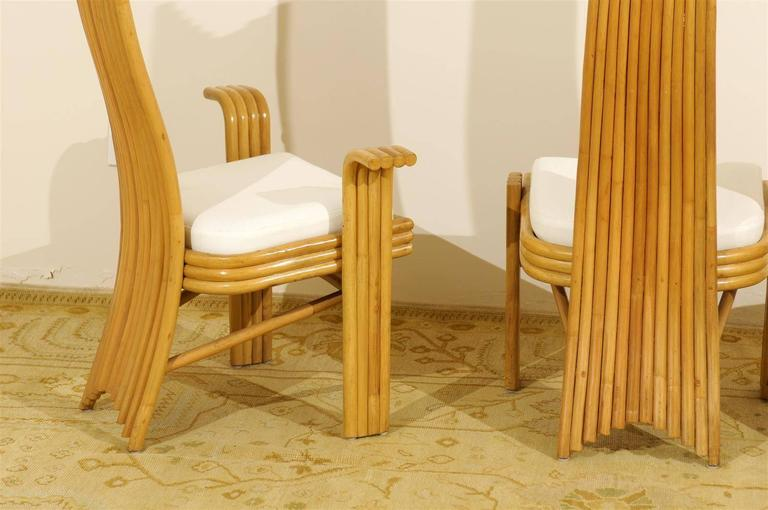 Exquisite Set of Six Modern Rattan Dining Chairs in the Mackintosh Style For Sale 3