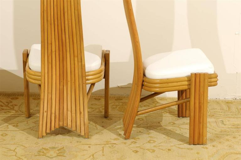 Exquisite Set of Six Modern Rattan Dining Chairs in the Mackintosh Style For Sale 4