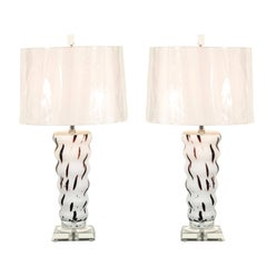 Vintage Blown Glass Lamps in Cream and Chocolate Raspberry