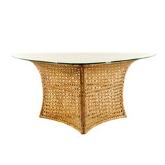Fantastic Rattan Triangle Base Dining or Game Table by Danny Ho Fong, circa 1975