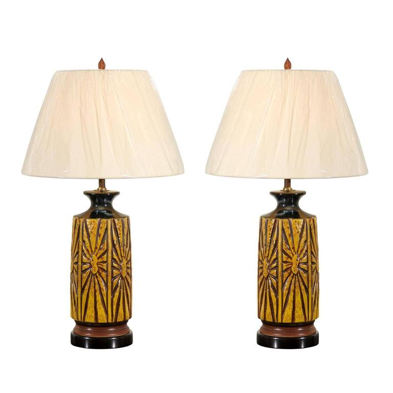 Lovely Restored Pair of Large-Scale Ceramic Lamps