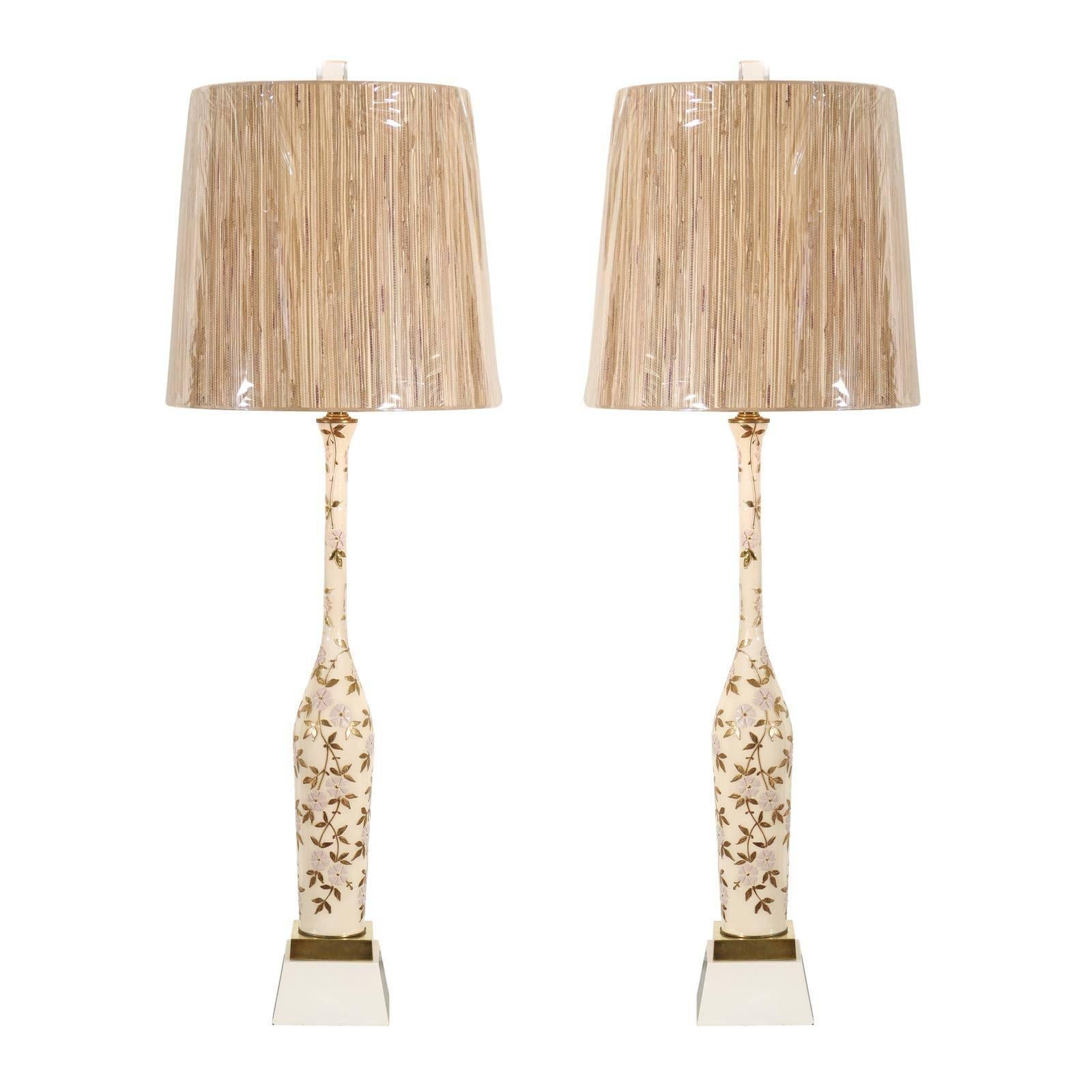 Amazing Pair of Monumental Hand-Painted Blown Glass Lamps