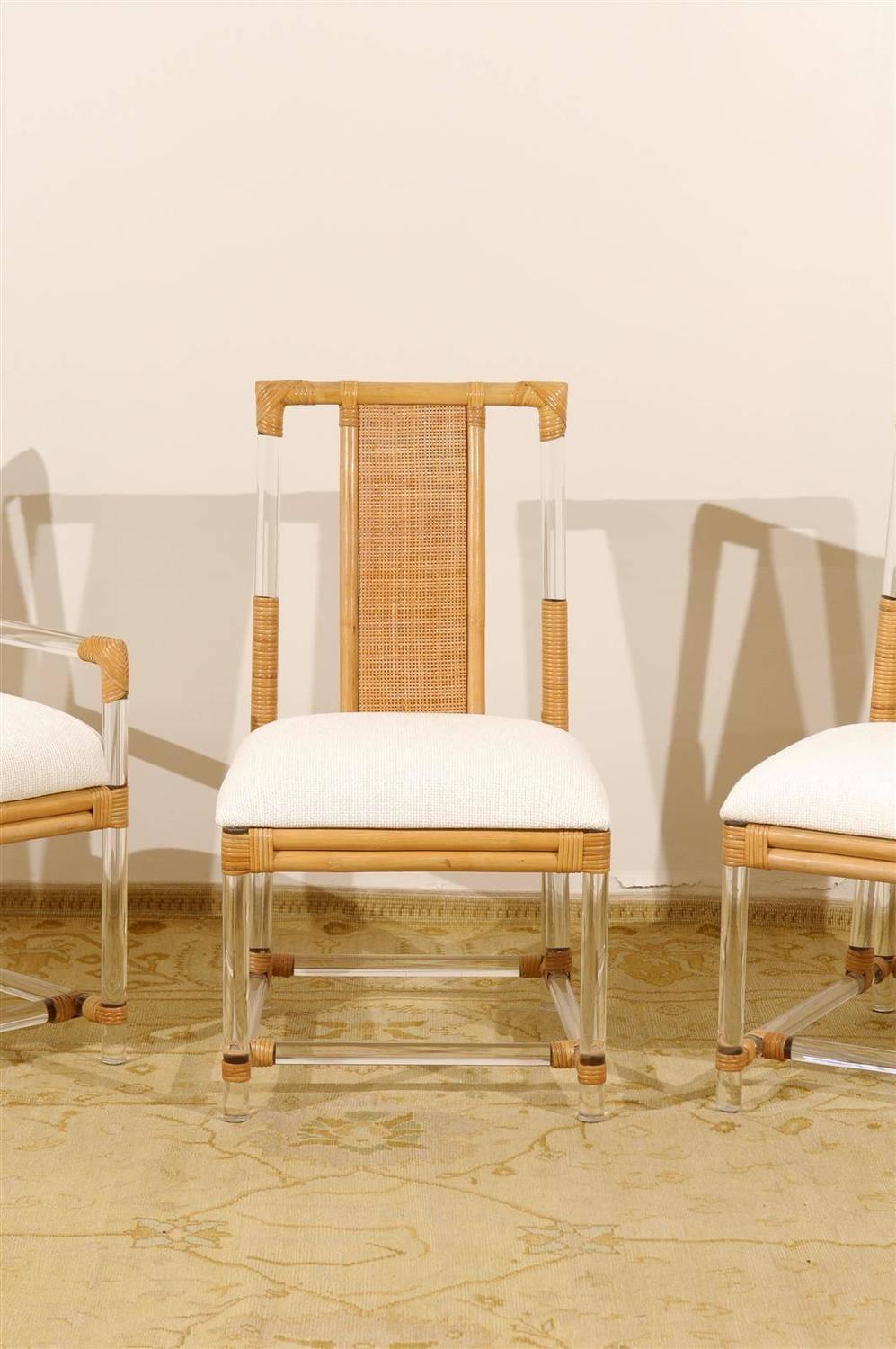 Fantastic Chic Set Of Six Vintage Lucite And Rattan Dining Chairs At Ocoug Best Dining Table And Chair Ideas Images Ocougorg