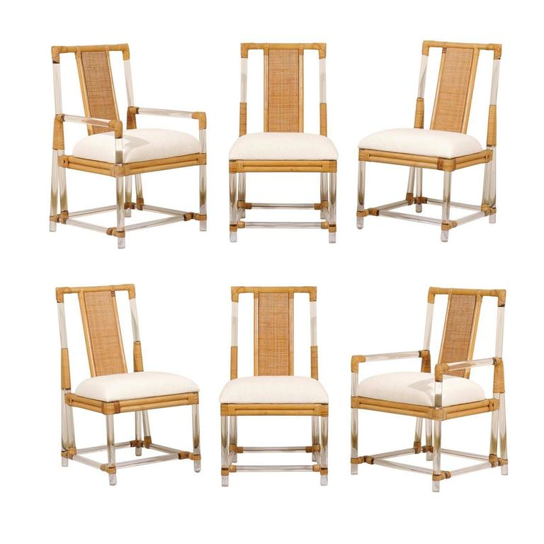 Phenomenal Chic Set Of Six Vintage Lucite And Rattan Dining Chairs At Ocoug Best Dining Table And Chair Ideas Images Ocougorg
