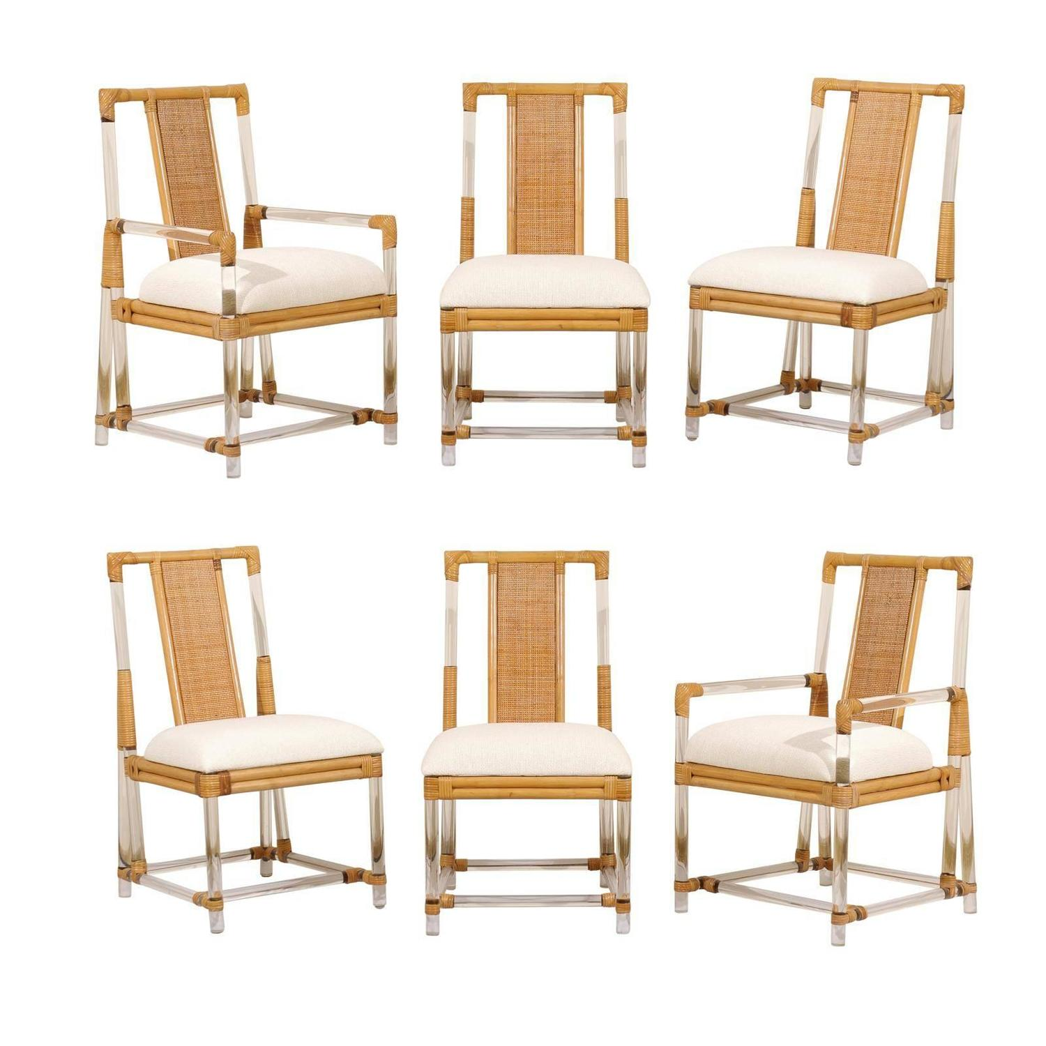 Chic Set Of Six Vintage Lucite And Rattan Dining Chairs At
