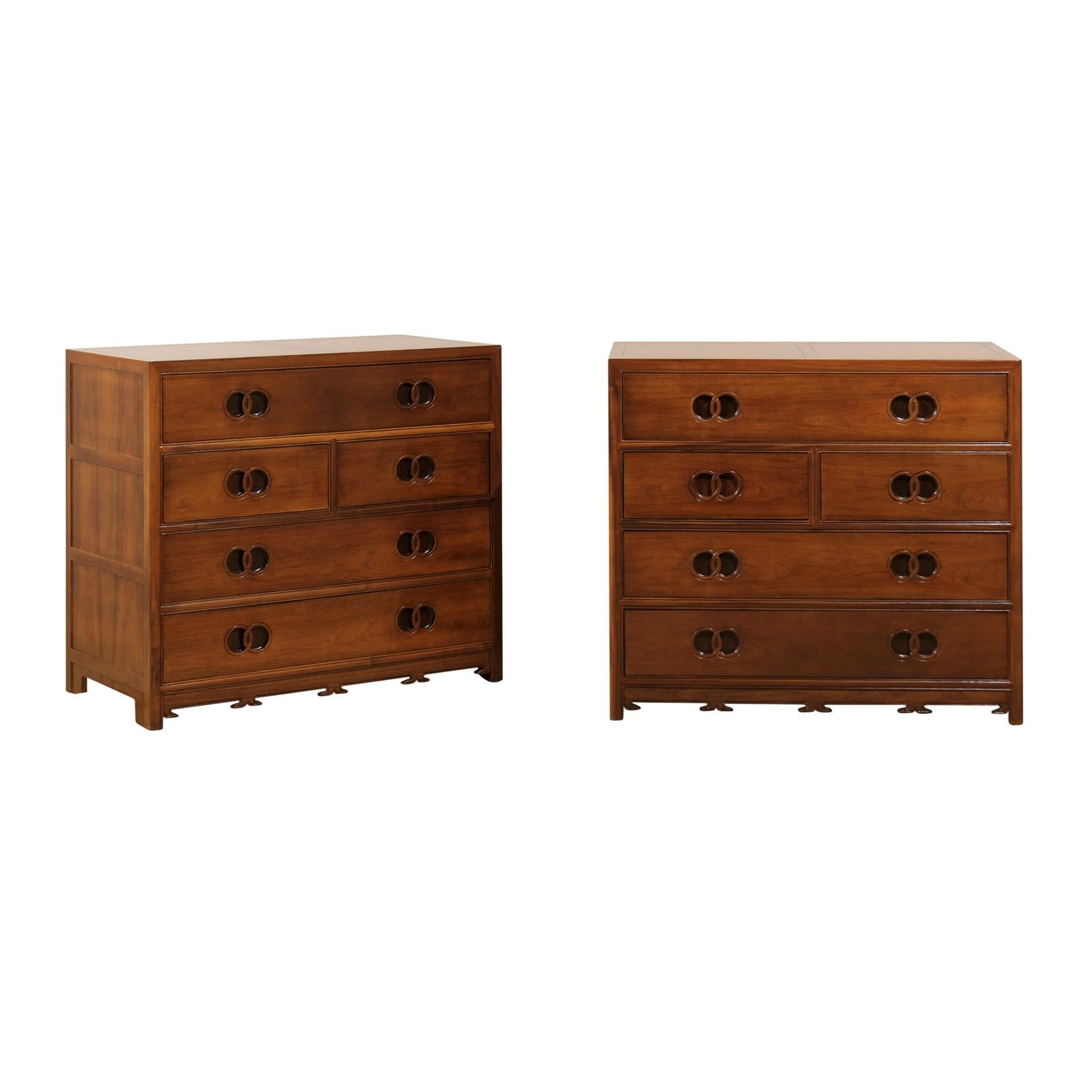 Stunning Restored Pair of Walnut Chests by Michael Taylor for Baker, circa 1960