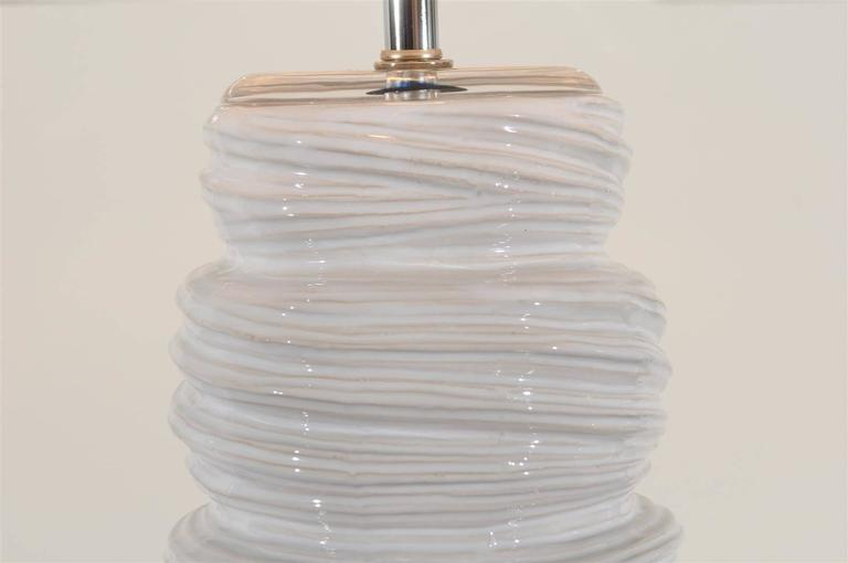 Unknown Gorgeous Pair of Ceramic and Lucite Soft Serve Style Lamps For Sale