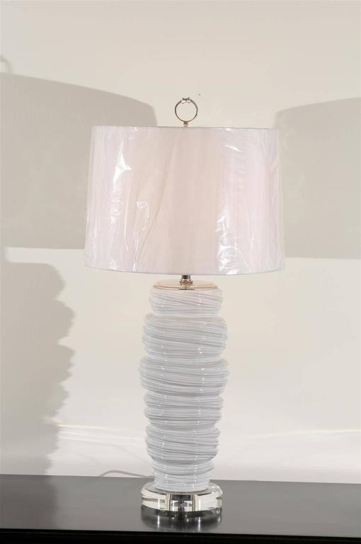 Gorgeous Pair of Ceramic and Lucite Soft Serve Style Lamps For Sale 1