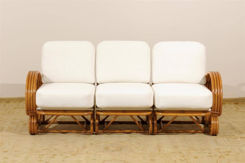 stellar restored vintage curvilinear rattan sofa at 1stdibs. Black Bedroom Furniture Sets. Home Design Ideas