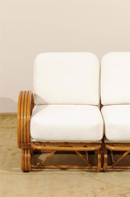 Stellar Restored Vintage Curvilinear Rattan Sofa At 1stdibs