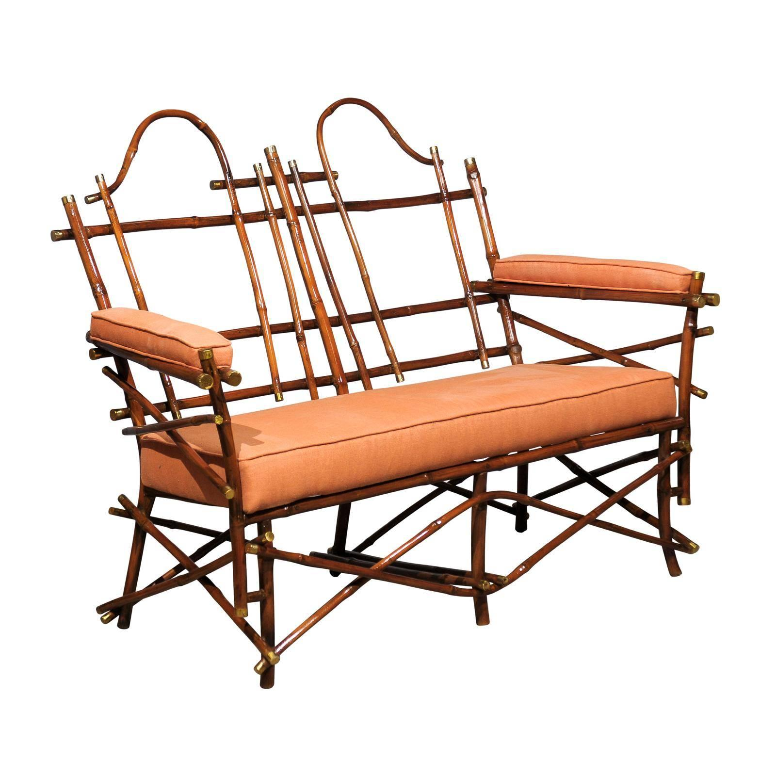 Lovely Vintage Bamboo and Brass Settee