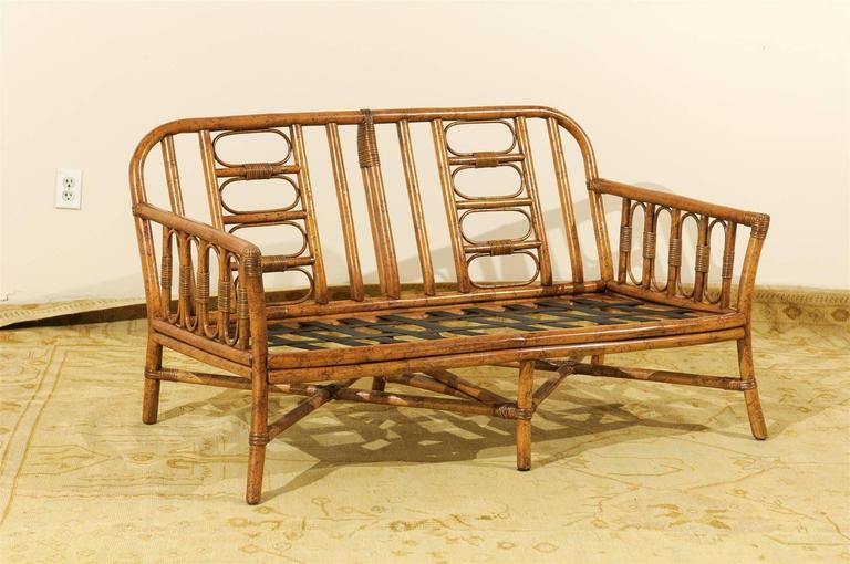 Decorative Vintage Rattan Loveseat By Ficks Reed 2