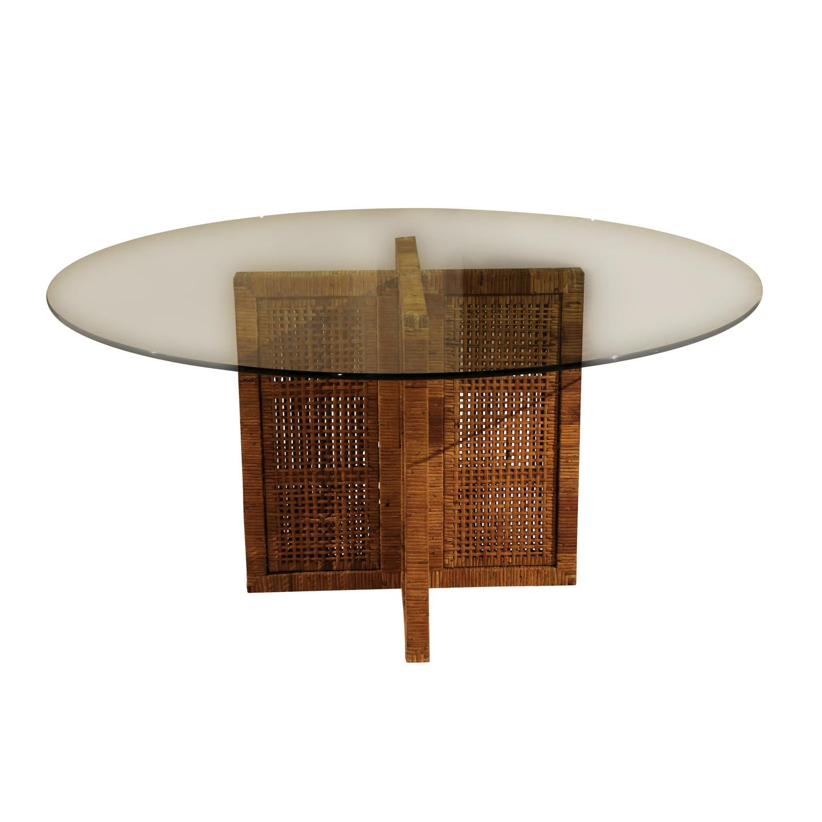 Restored Rattan, Cane and Glass Table by Bielecky Brothers