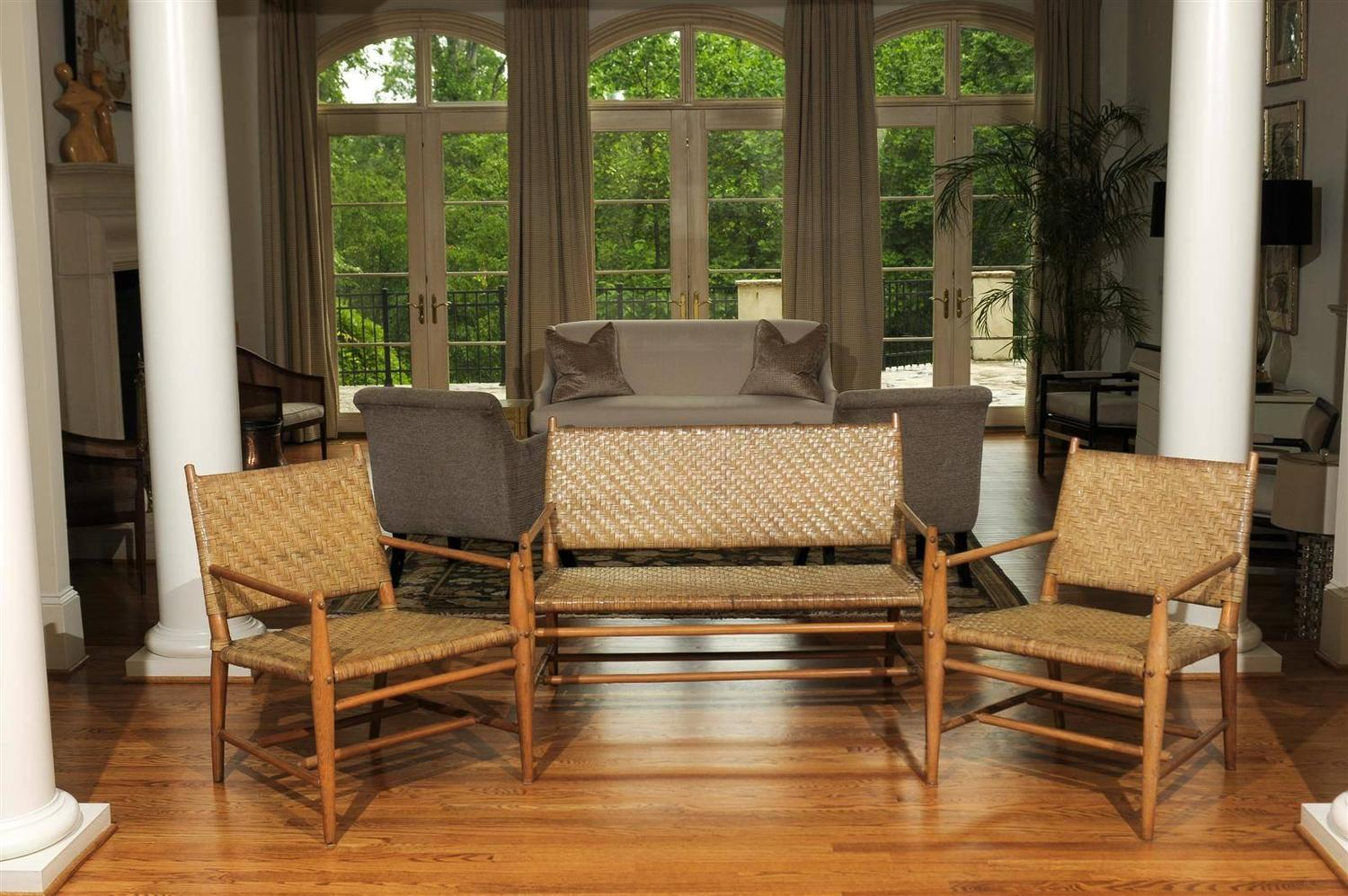 Exceptionally Rare Complete Three Piece Modern Seating Set