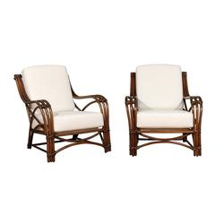 Stellar Pair of Restored Rattan Style Loungers