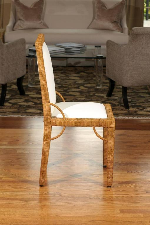 Late 20th Century Stylish Set of Six Restored Vintage Rattan Parsons Style Dining Chairs For Sale