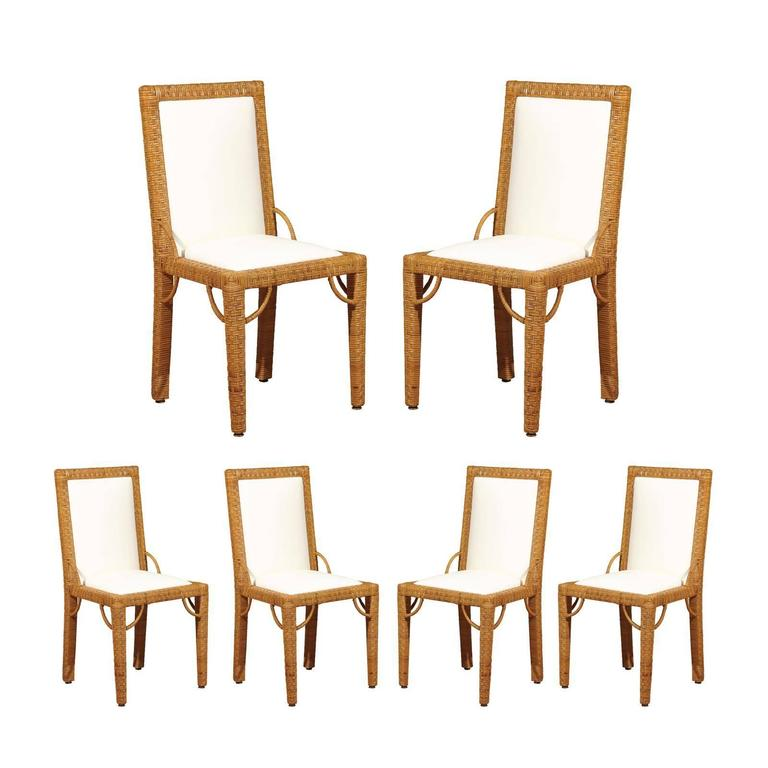 Stylish Set of Six Restored Vintage Rattan Parsons Style Dining Chairs For Sale
