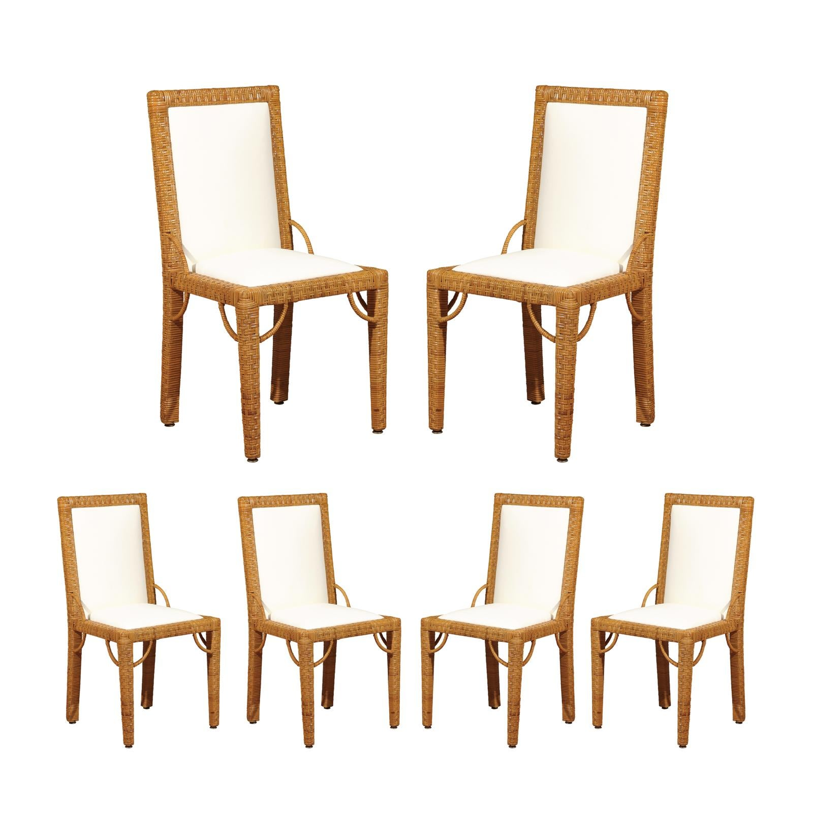 Stylish Set of 6 Restored Rattan Parsons Style Dining Chairs, circa 1975