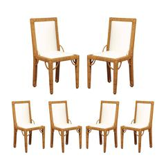 Stylish Set of Six Restored Vintage Rattan Parsons Style Dining Chairs
