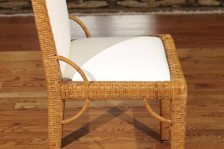 Stylish Set of Six Restored Vintage Rattan Parsons Style Dining Chairs In Excellent Condition For Sale In Atlanta, GA