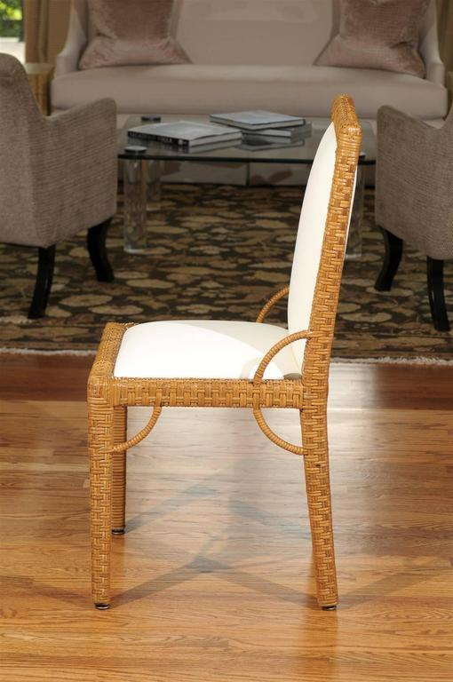 Stylish Set of Six Restored Vintage Rattan Parsons Style Dining Chairs For Sale 1