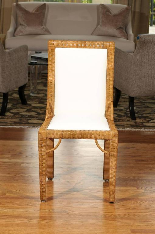 Stylish Set of Six Restored Vintage Rattan Parsons Style Dining Chairs For Sale 3