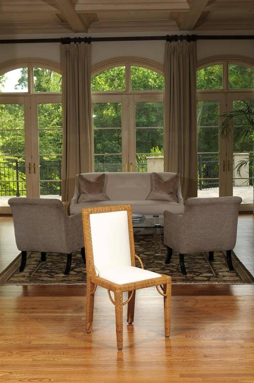 Mid-Century Modern Stylish Set of Six Restored Vintage Rattan Parsons Style Dining Chairs For Sale