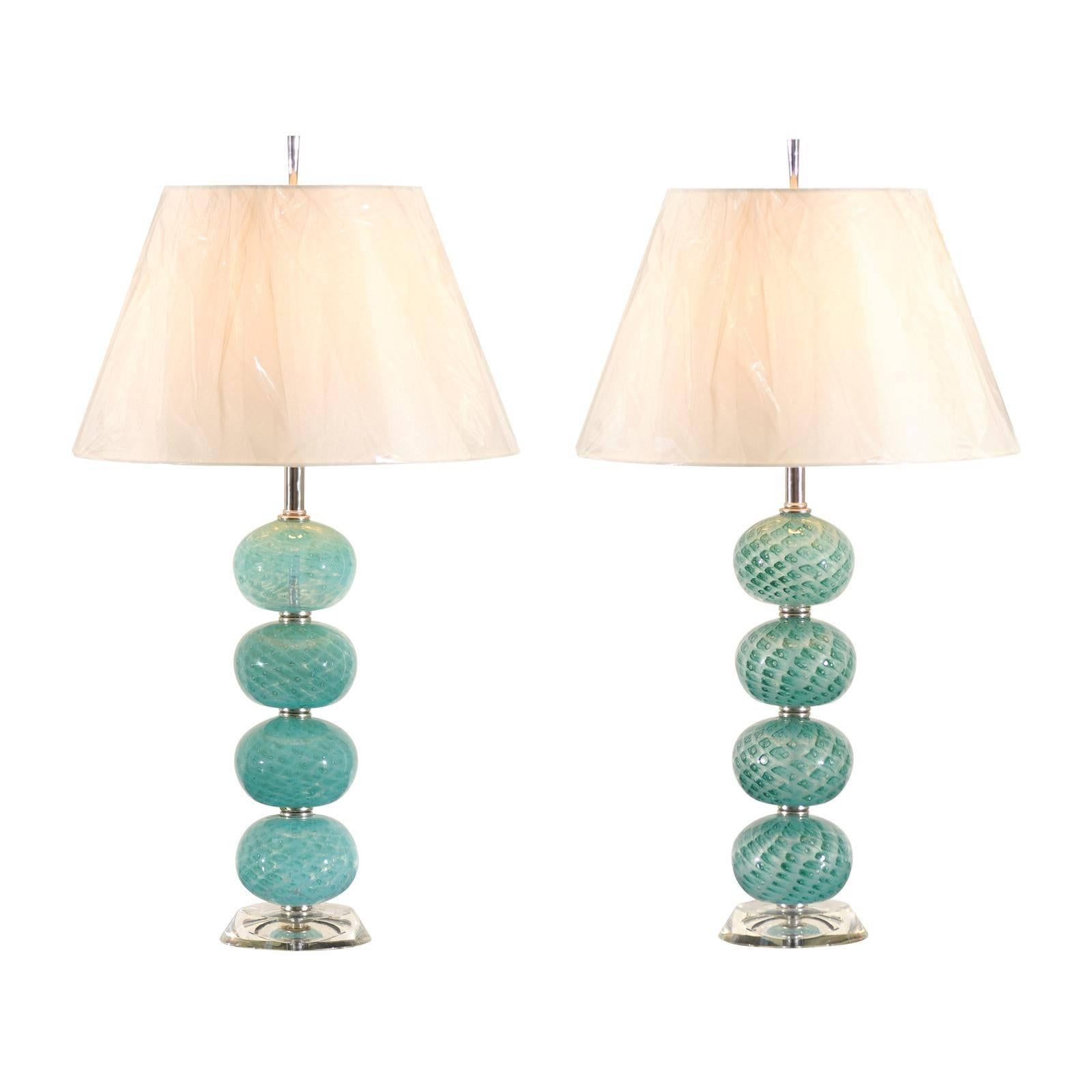 Outstanding Pair of Vintage Stacked Blown Glass Ball Murano Lamps