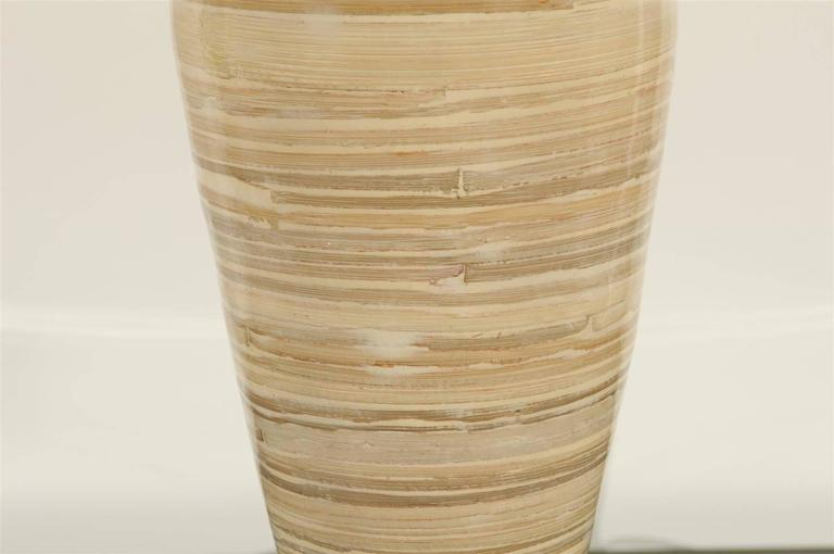 Chic Pair Of Large Scale Bamboo Vases As Custom Lamps For Sale At
