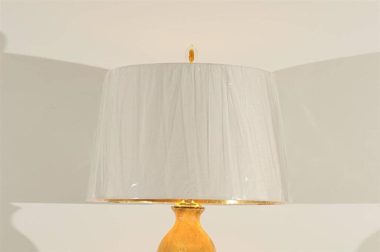 Blown Glass Stellar Restored Pair of Large-Scale Vintage Ceramic Lamps in Yellow Ochre For Sale