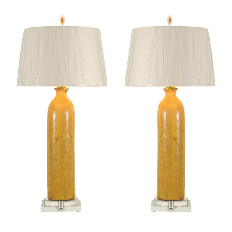 Stellar Restored Pair Of Large Scale Vintage Ceramic Lamps In Yellow Ochre  For Sale