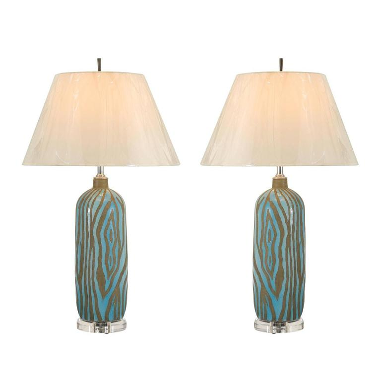 Fabulous Pair of Zebra Print Ceramic Vessels as Custom Lamps