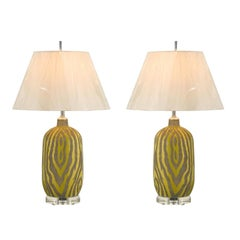 Striking Restored Pair of Vintage Zebra Print Ceramic Lamps in Citrus